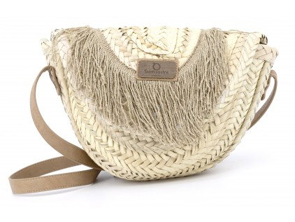 BOLSO MEDIA LUNA CON FLECOS  FRINGES